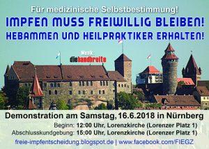 Demonstration für die medizinische Selbstbestimmung in Nürnberg am 16.6.2018!